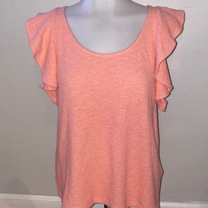 NWT Madewell Coral Ruffle Sleeve Tank Size S